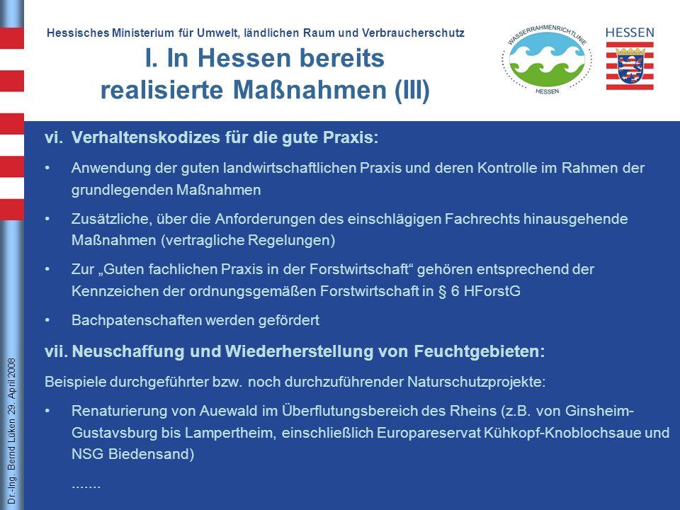 I. In Hessen bereits realisierte Maßnahmen (III)