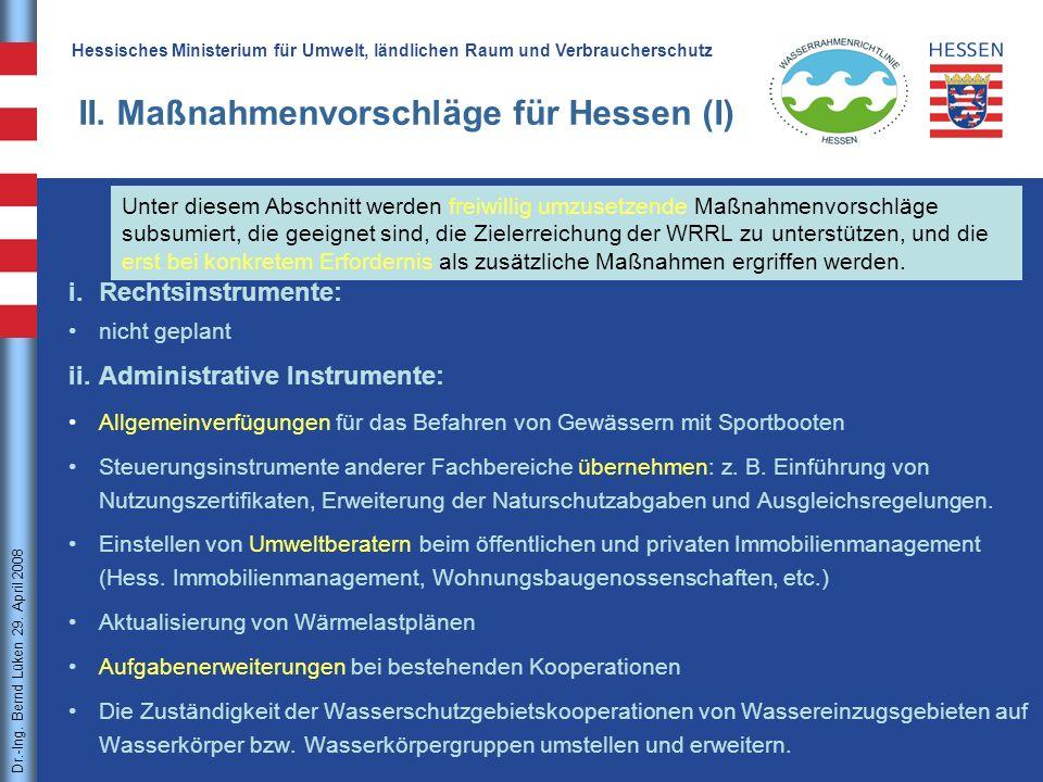 II. Maßnahmenvorschläge für Hessen (I)