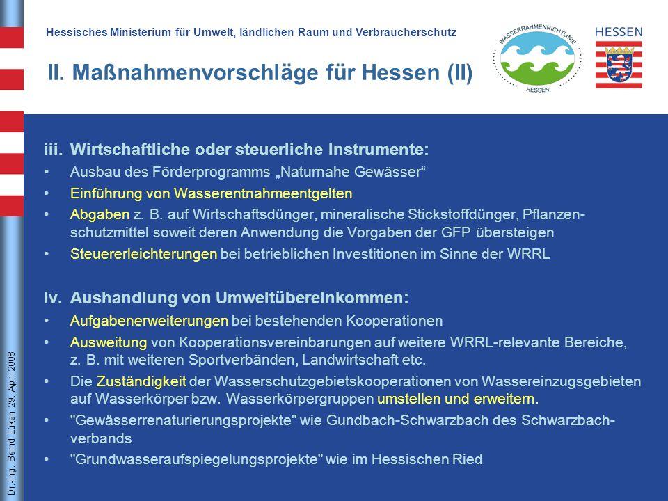 II. Maßnahmenvorschläge für Hessen (II)