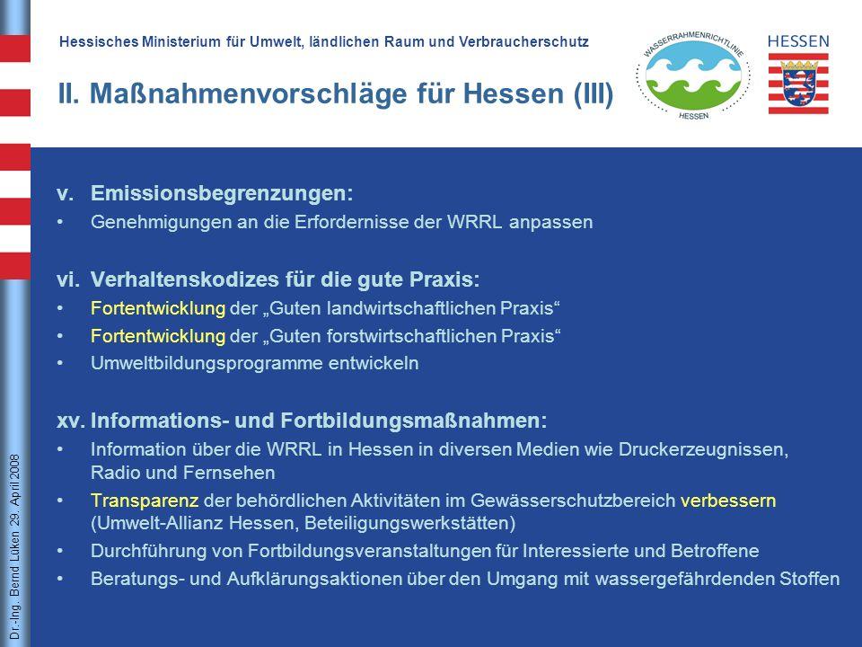 II. Maßnahmenvorschläge für Hessen (III)