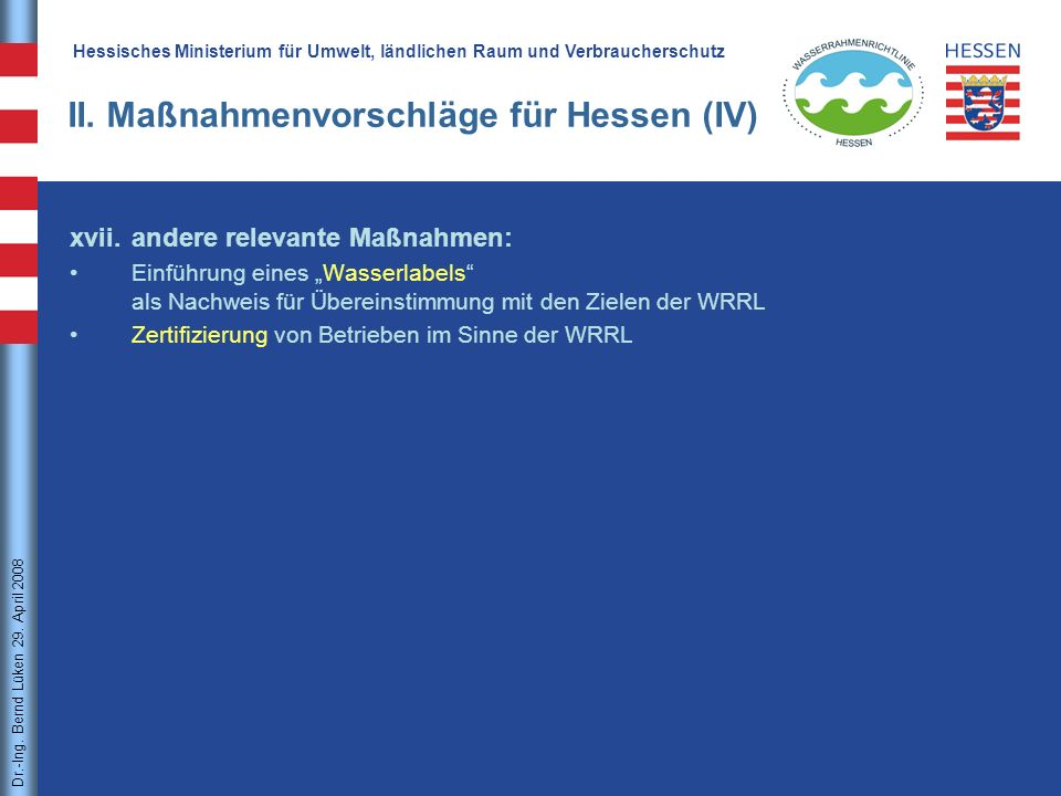 II. Maßnahmenvorschläge für Hessen (IV)