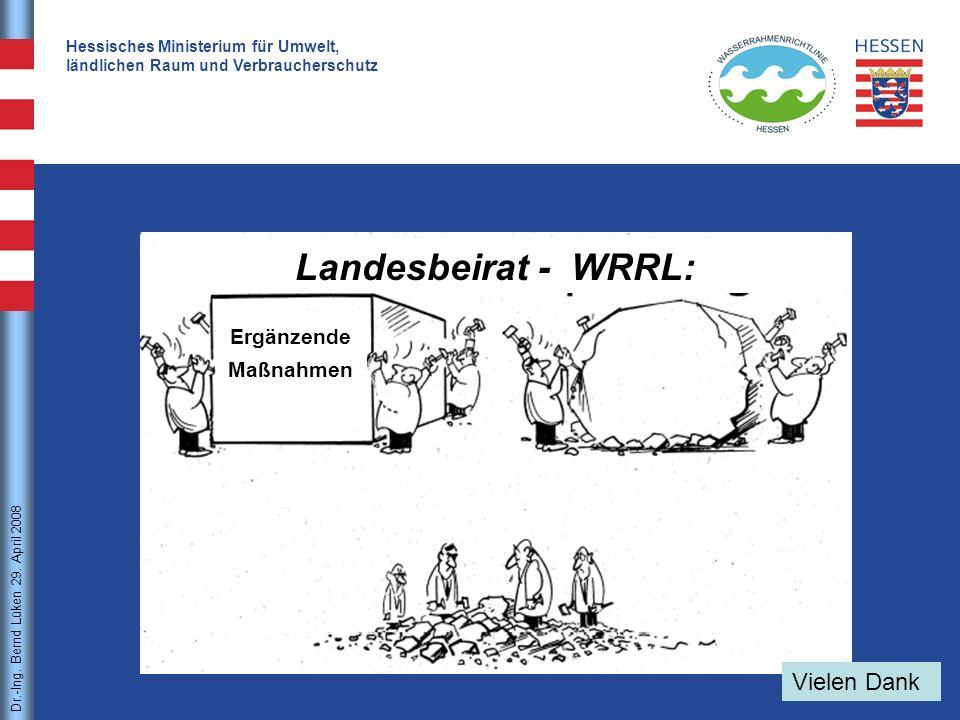 Landesbeirat - WRRL: Vielen Dank Ergänzende Maßnahmen