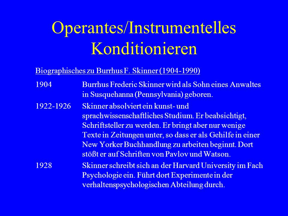Operantes/Instrumentelles Konditionieren