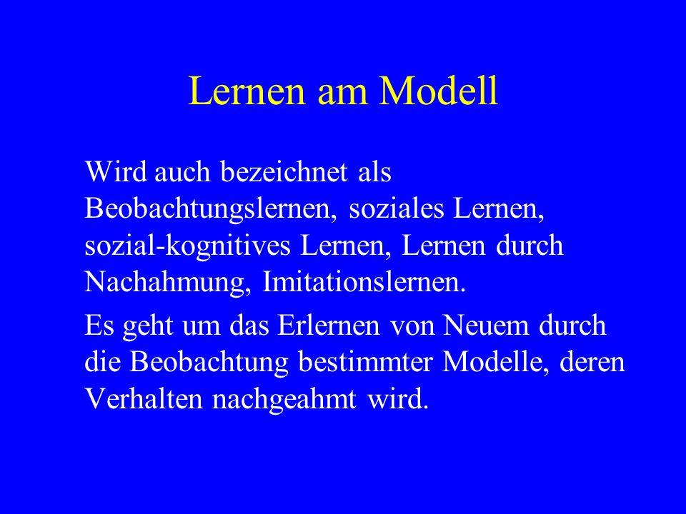 Lernen am ModellWird auch bezeichnet als Beobachtungslernen, soziales Lernen, sozial-kognitives Lernen, Lernen durch Nachahmung, Imitationslernen.