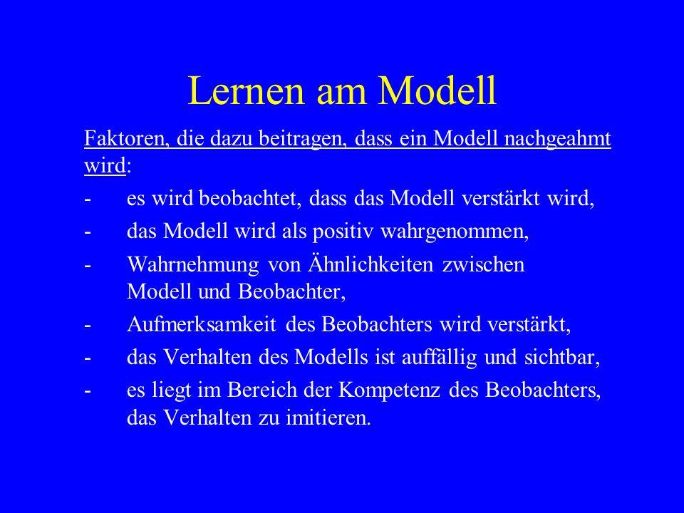 Lernen am Modell Faktoren, die dazu beitragen, dass ein Modell nachgeahmt wird: - es wird beobachtet, dass das Modell verstärkt wird,