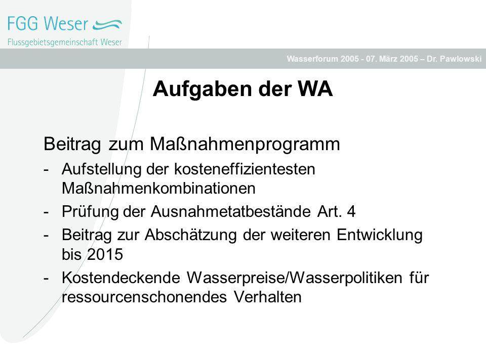 Aufgaben der WA Beitrag zum Maßnahmenprogramm