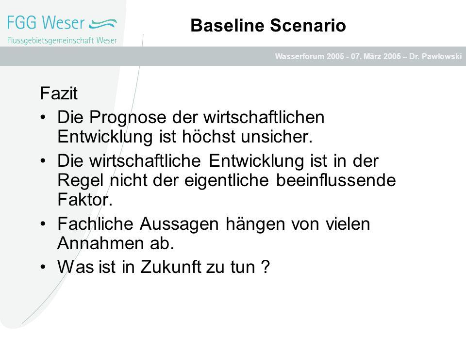 Baseline Scenario Fazit. Die Prognose der wirtschaftlichen Entwicklung ist höchst unsicher.