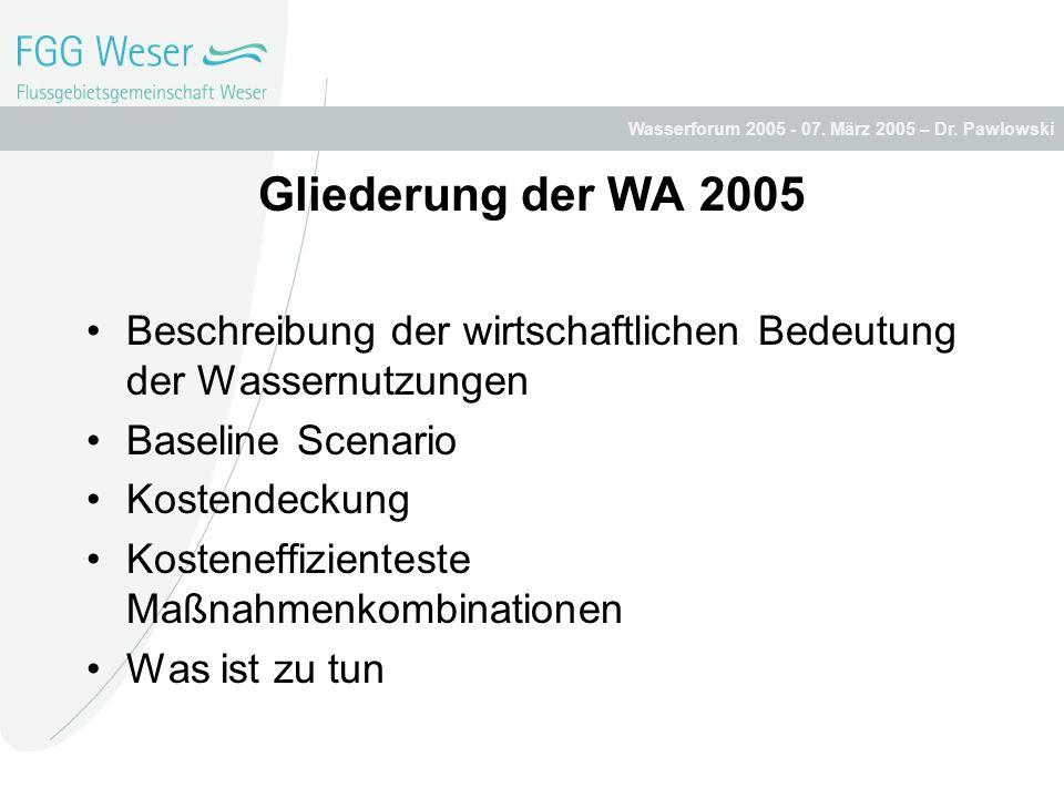 Gliederung der WA 2005 Beschreibung der wirtschaftlichen Bedeutung der Wassernutzungen. Baseline Scenario.