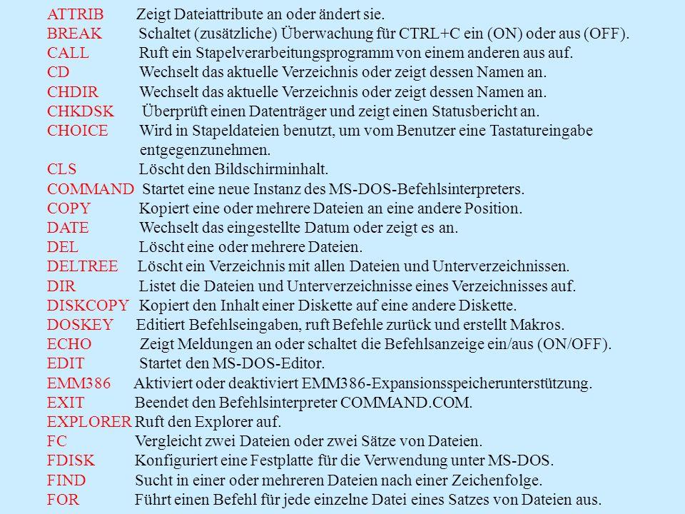 Befehlsübersicht von MS-DOS-Befehlen