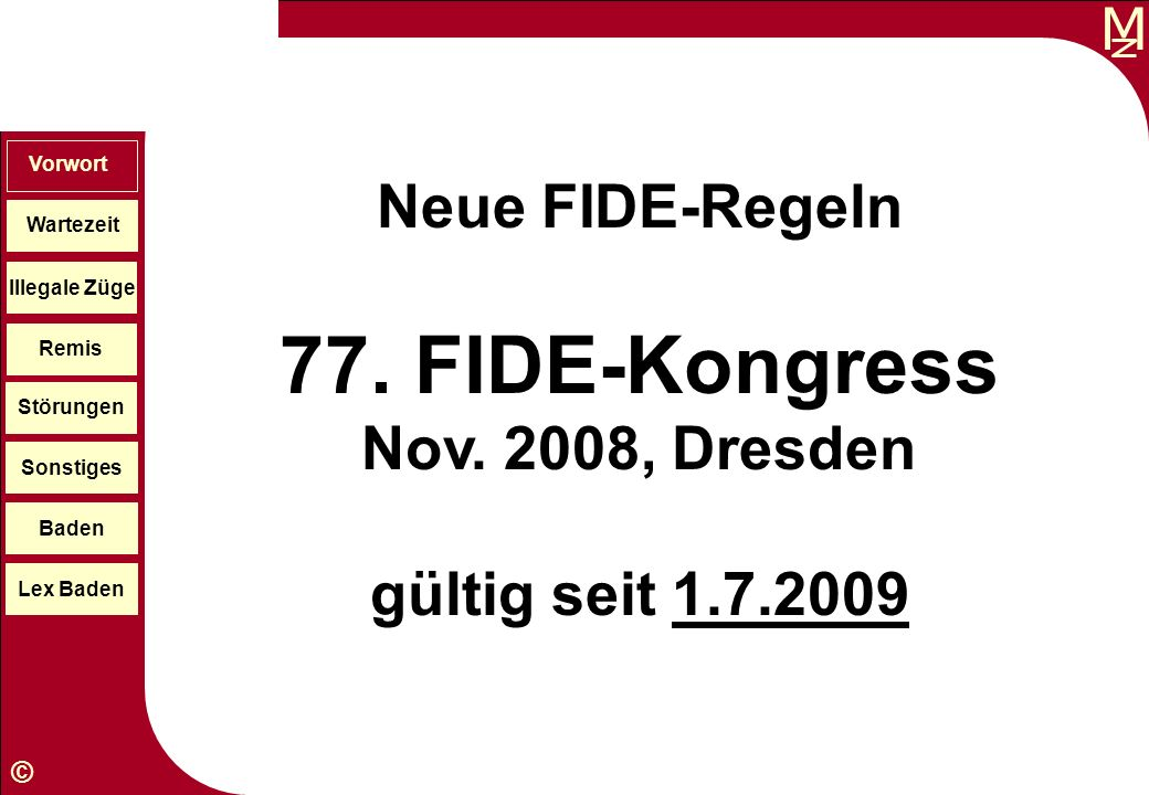 77. FIDE-Kongress Nov. 2008, Dresden