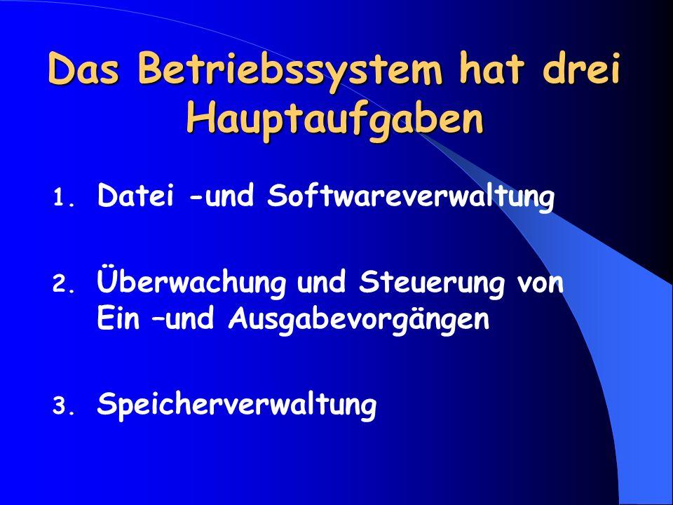 Das Betriebssystem hat drei Hauptaufgaben