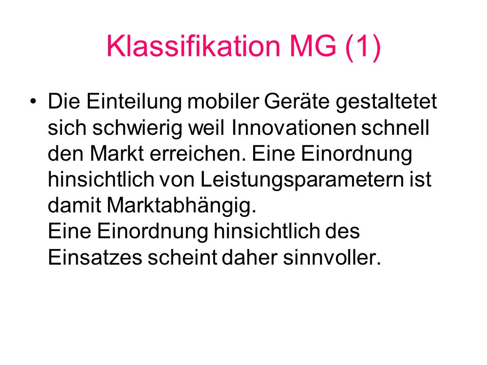 Klassifikation MG (1)