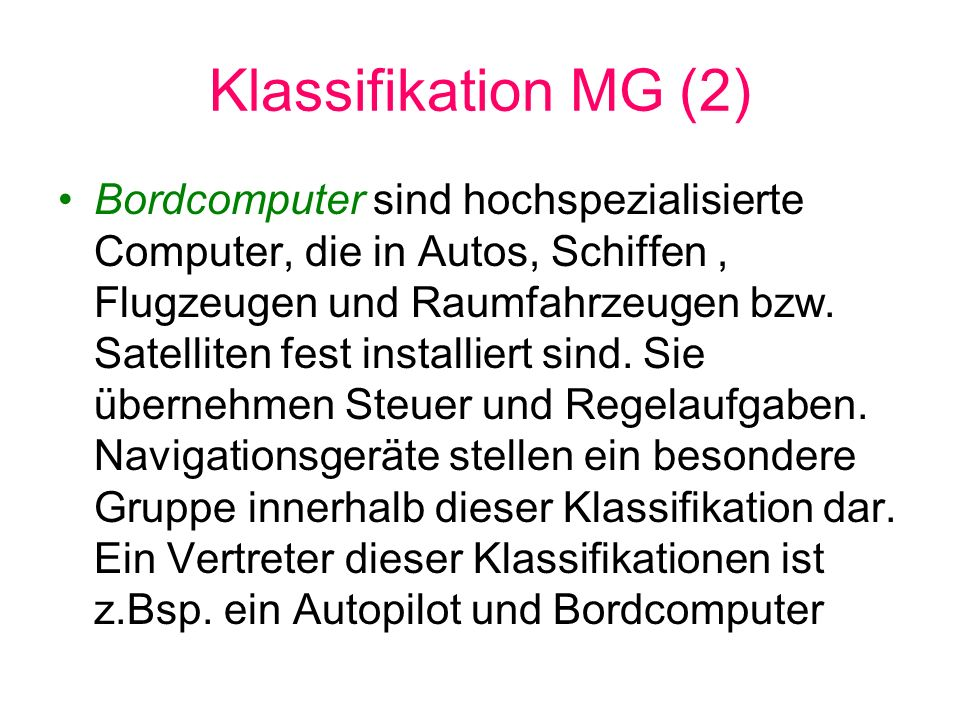 Klassifikation MG (2)