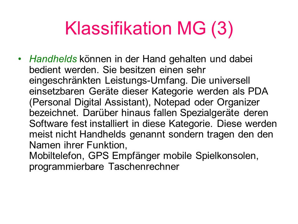 Klassifikation MG (3)
