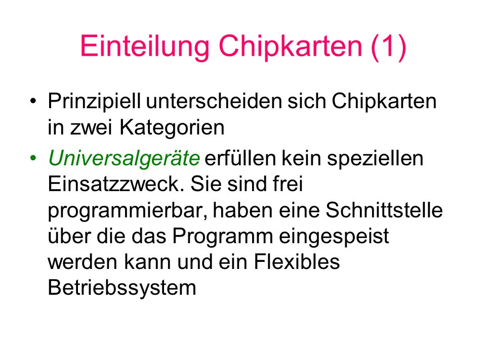 Einteilung Chipkarten (1)