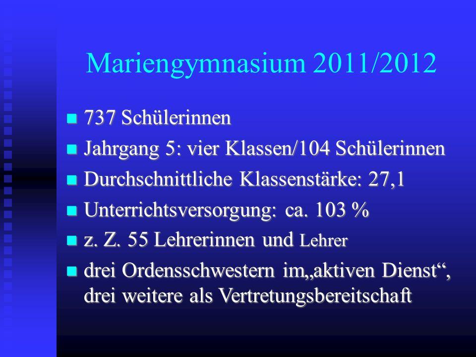 Mariengymnasium 2011/2012 737 Schülerinnen