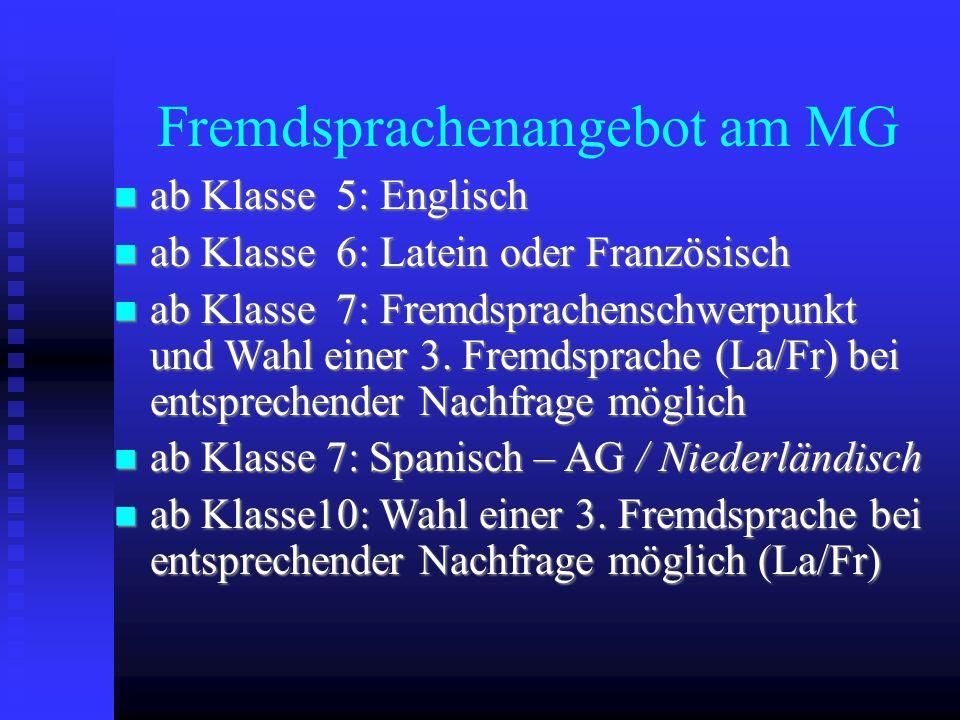 Fremdsprachenangebot am MG