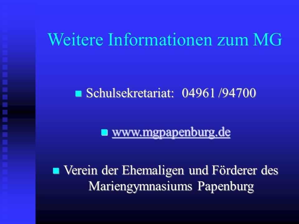 Weitere Informationen zum MG