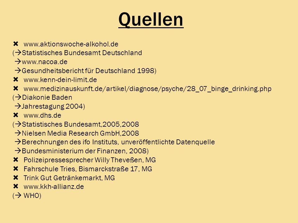 Quellen www.aktionswoche-alkohol.de