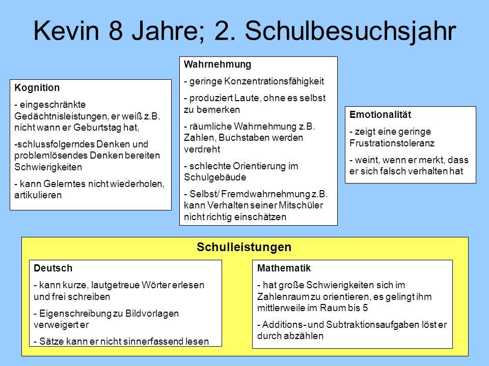 Kevin 8 Jahre; 2. Schulbesuchsjahr