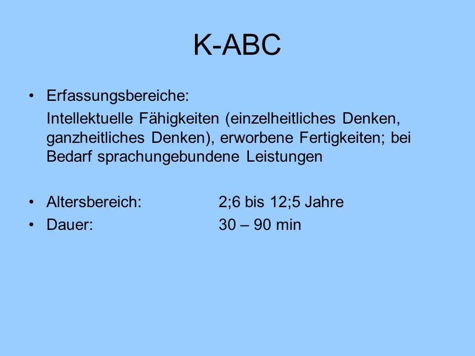 K-ABC Erfassungsbereiche: