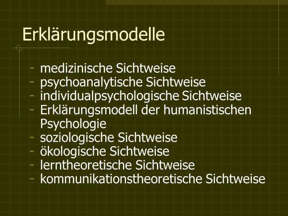 Erklärungsmodelle medizinische Sichtweise psychoanalytische Sichtweise