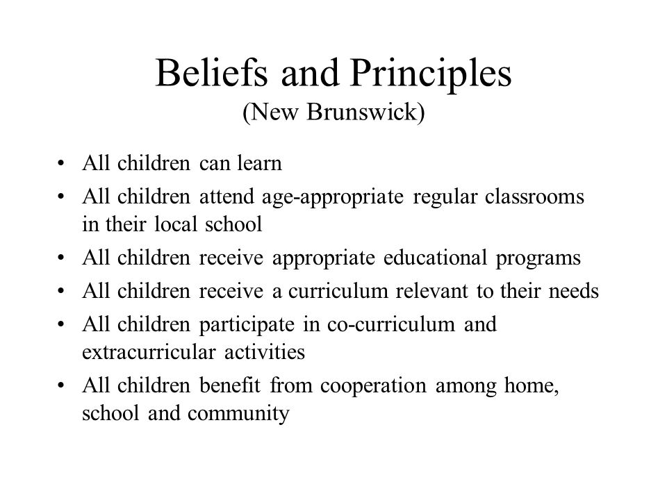 Beliefs and Principles (New Brunswick)