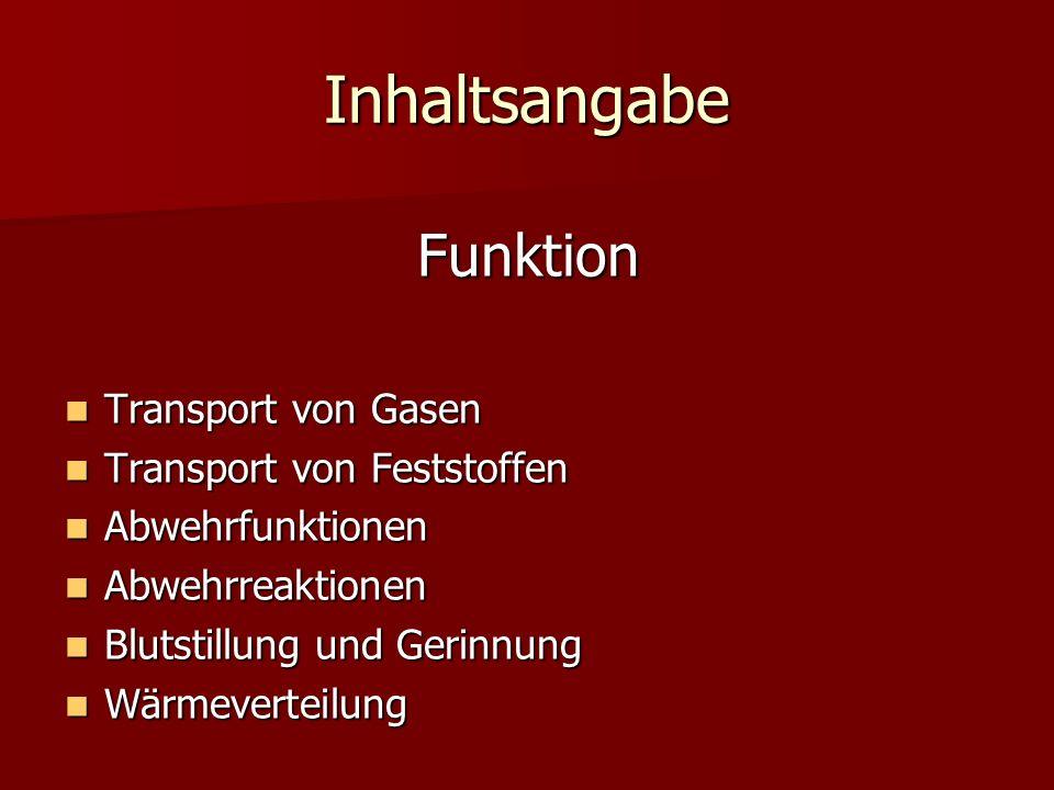 Inhaltsangabe Funktion Transport von Gasen Transport von Feststoffen