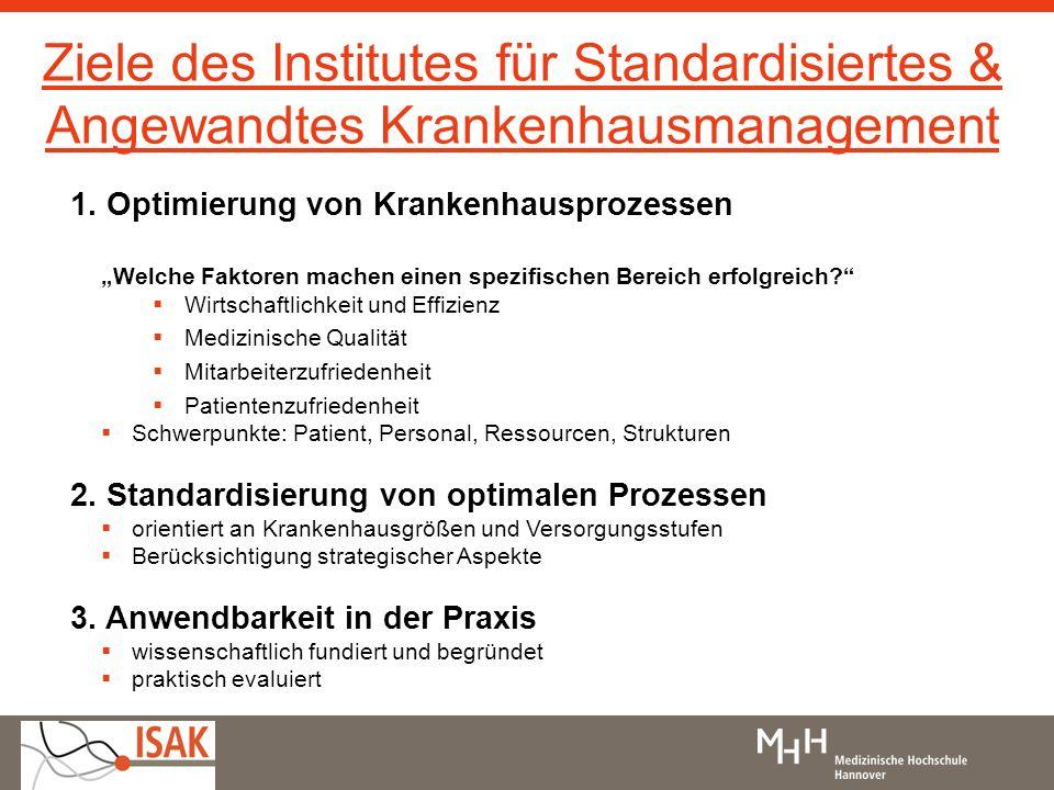 Ziele des Institutes für Standardisiertes & Angewandtes Krankenhausmanagement