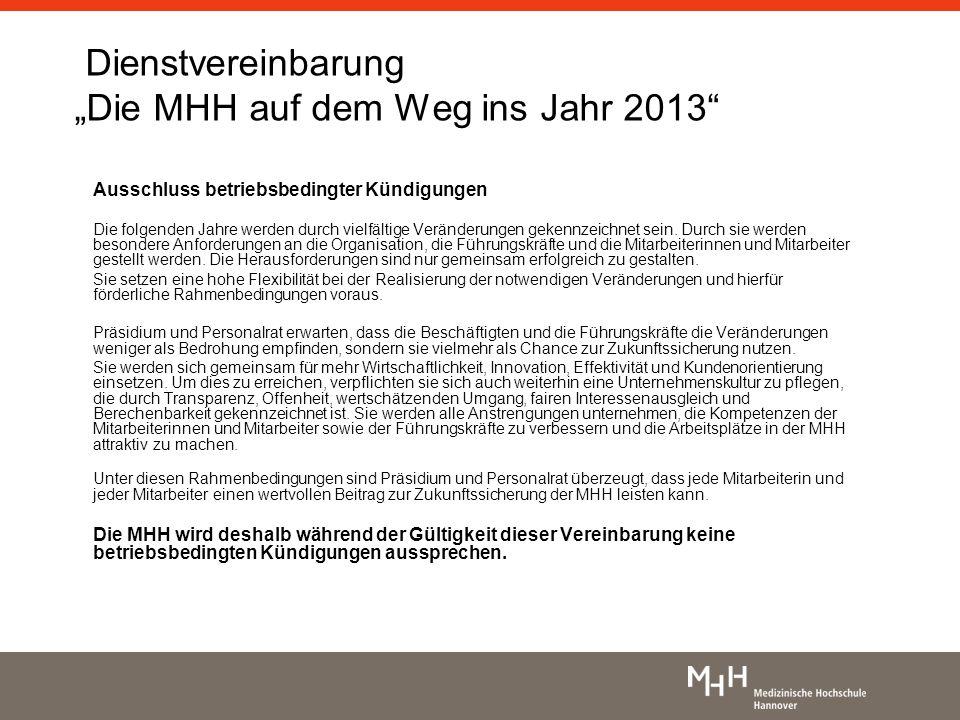 """Dienstvereinbarung """"Die MHH auf dem Weg ins Jahr 2013"""