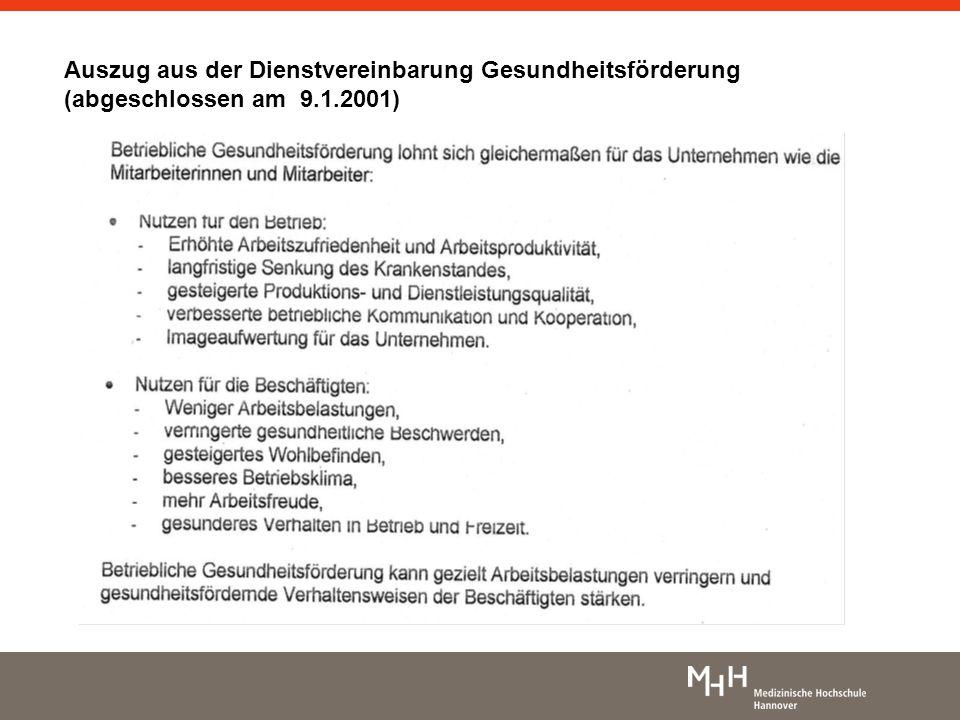 Auszug aus der Dienstvereinbarung Gesundheitsförderung (abgeschlossen am 9.1.2001)