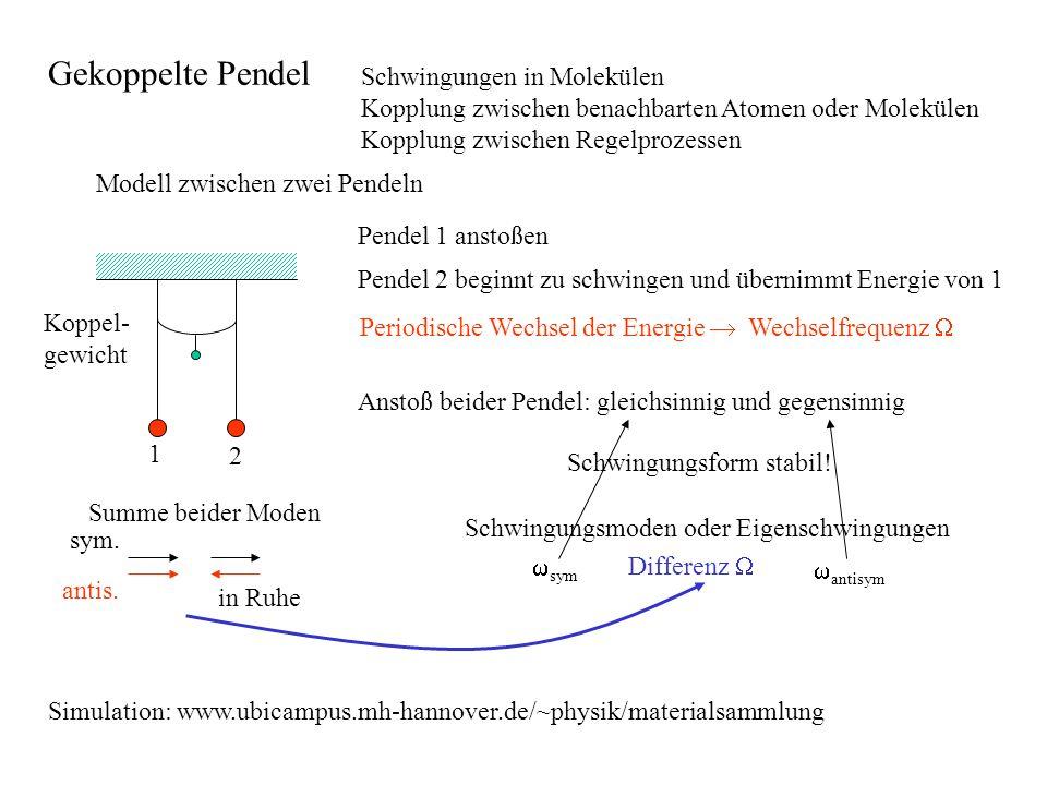 Gekoppelte Pendel Schwingungen in Molekülen