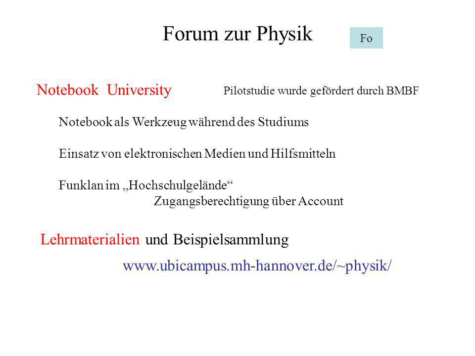 Forum zur Physik Notebook University