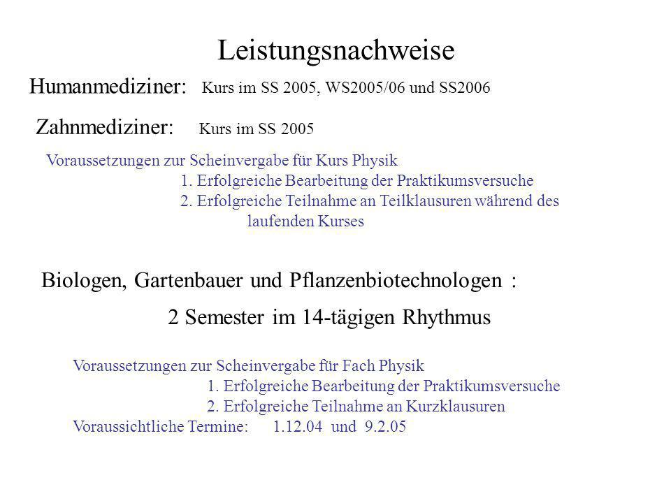 Leistungsnachweise Humanmediziner: Kurs im SS 2005, WS2005/06 und SS2006. Zahnmediziner: Kurs im SS 2005.