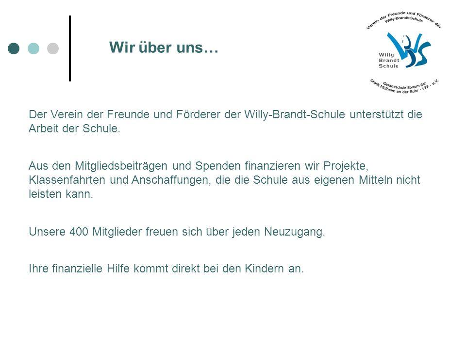 Wir über uns… Der Verein der Freunde und Förderer der Willy-Brandt-Schule unterstützt die Arbeit der Schule.
