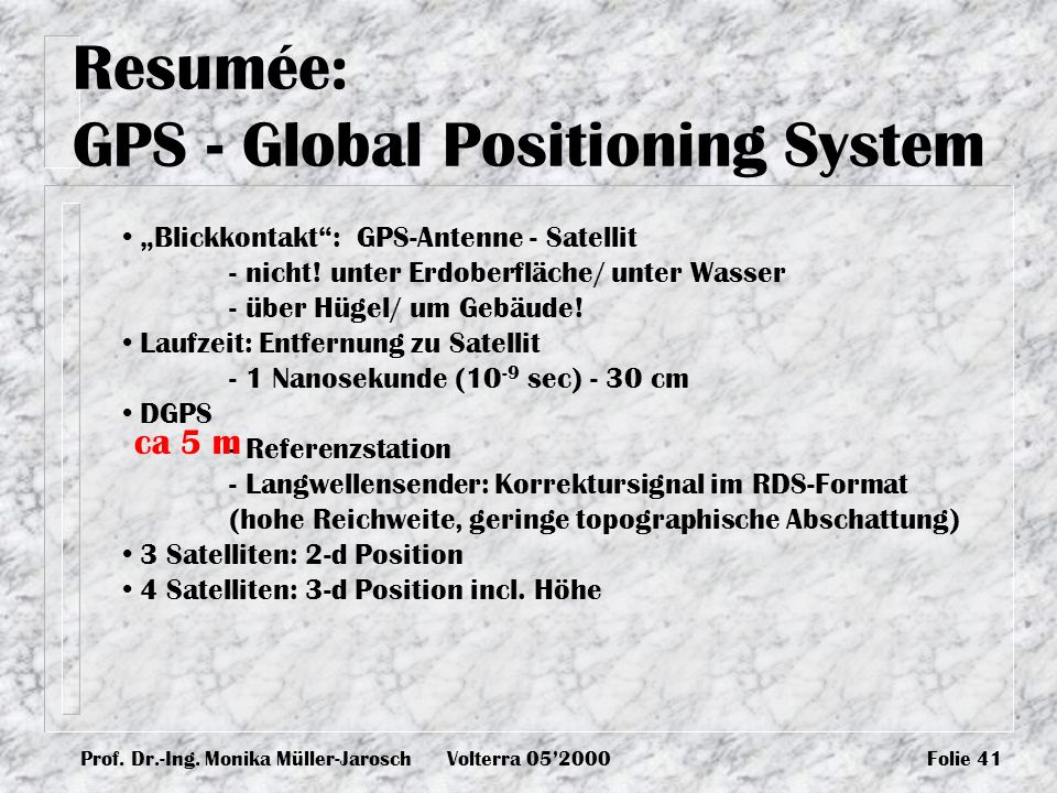 Resumée: GPS - Global Positioning System