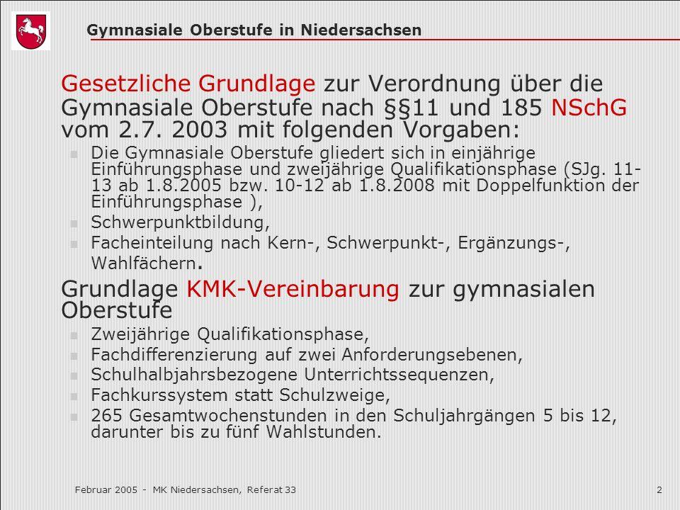 Februar 2005 Gesetzliche Grundlage zur Verordnung über die Gymnasiale Oberstufe nach §§11 und 185 NSchG vom 2.7. 2003 mit folgenden Vorgaben: