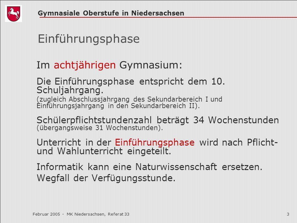 Einführungsphase Im achtjährigen Gymnasium: Die Einführungsphase entspricht dem 10. Schuljahrgang.