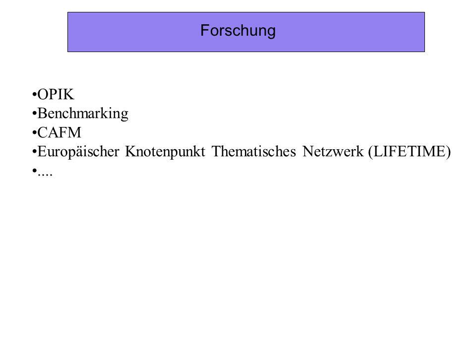 Forschung OPIK Benchmarking CAFM Europäischer Knotenpunkt Thematisches Netzwerk (LIFETIME) ....