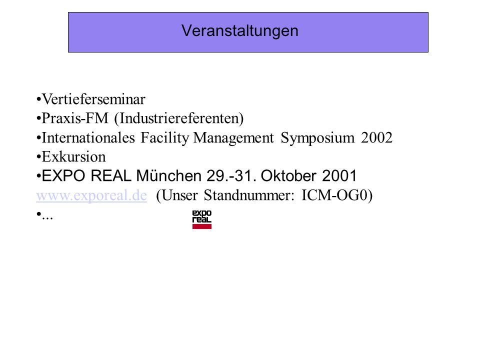 VeranstaltungenVertieferseminar. Praxis-FM (Industriereferenten) Internationales Facility Management Symposium 2002.