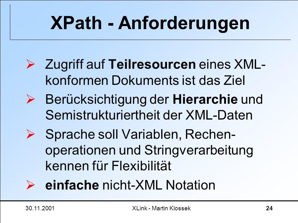 XPath - AnforderungenZugriff auf Teilresourcen eines XML-konformen Dokuments ist das Ziel.