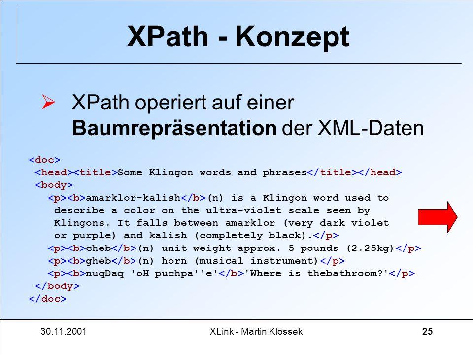 XPath - Konzept XPath operiert auf einer Baumrepräsentation der XML-Daten.