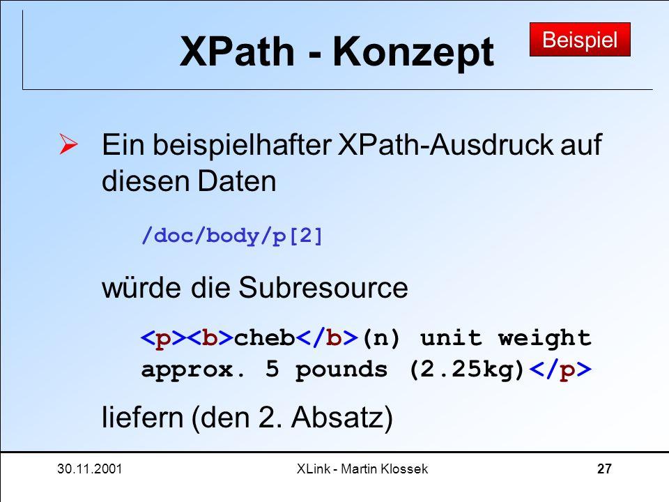 XPath - Konzept Beispiel. Ein beispielhafter XPath-Ausdruck auf diesen Daten würde die Subresource liefern (den 2. Absatz)