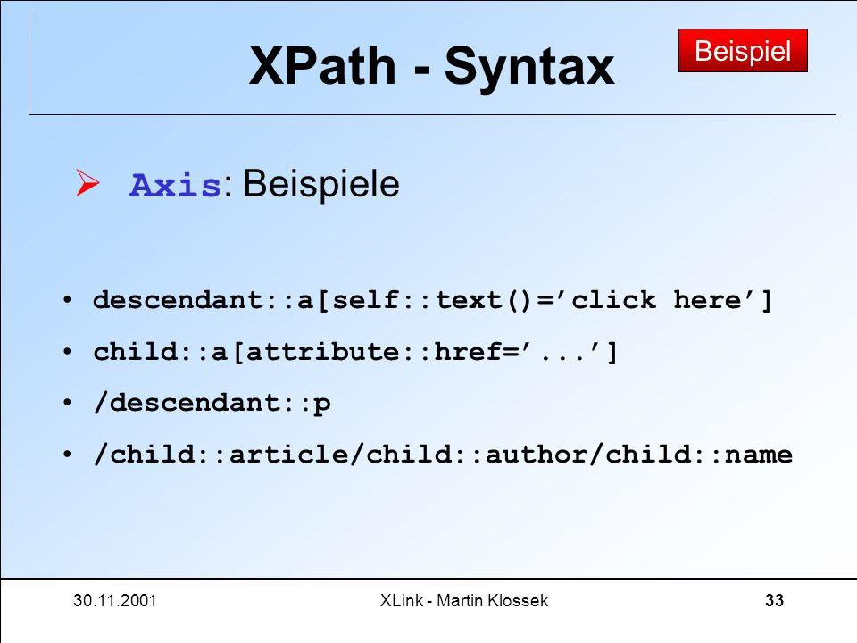XPath - Syntax Axis: Beispiele Beispiel