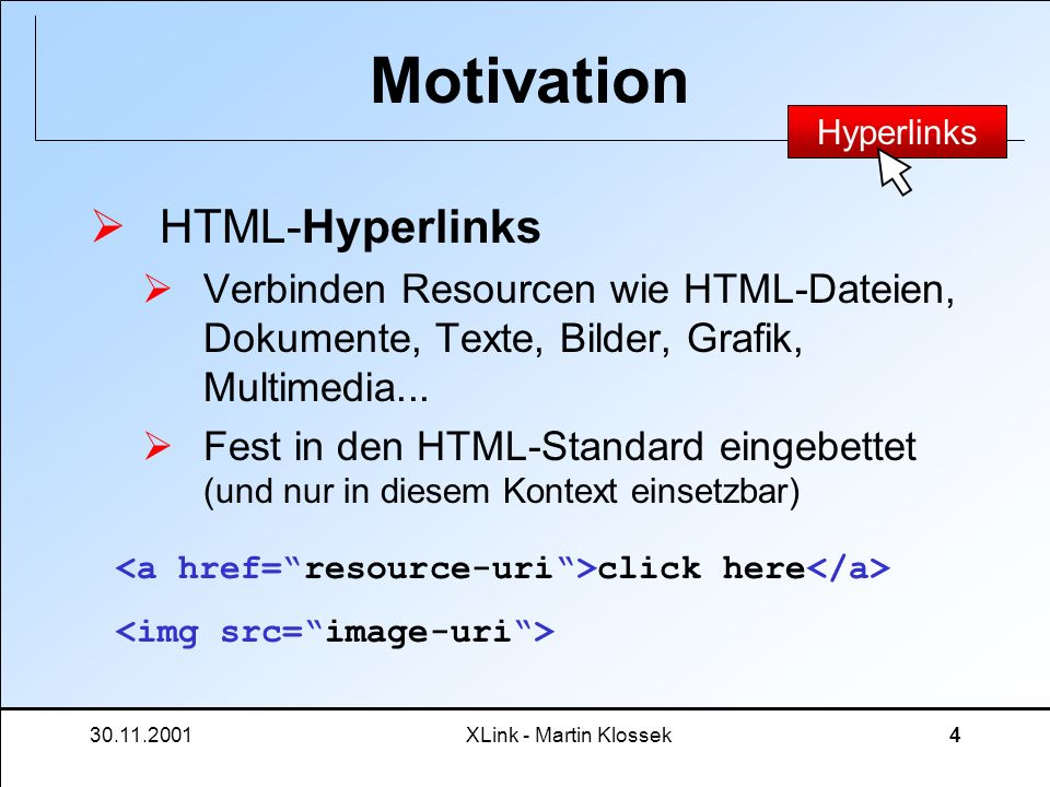 Motivation HTML-Hyperlinks
