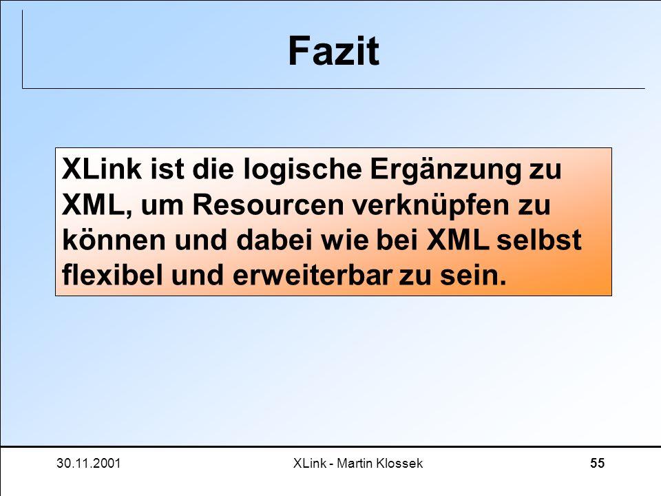 Fazit XLink ist die logische Ergänzung zu XML, um Resourcen verknüpfen zu können und dabei wie bei XML selbst flexibel und erweiterbar zu sein.