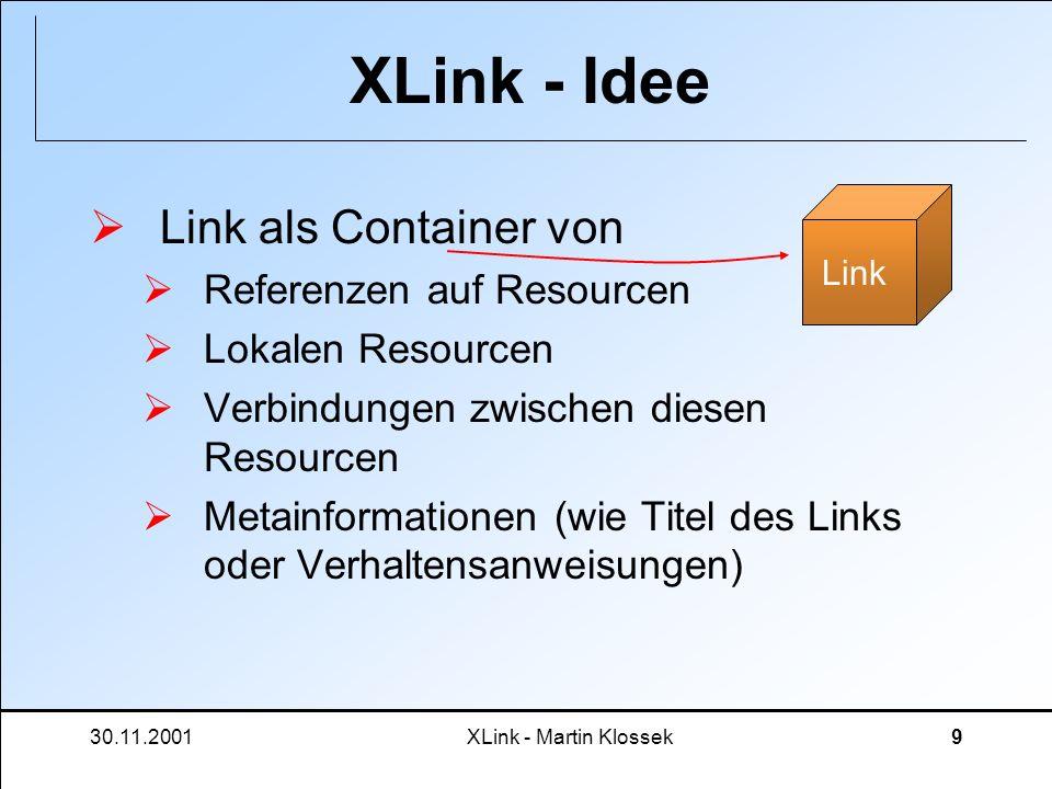 XLink - Idee Link als Container von Referenzen auf Resourcen