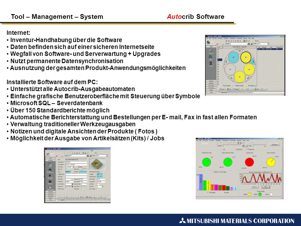 Tool – Management – System Autocrib Software