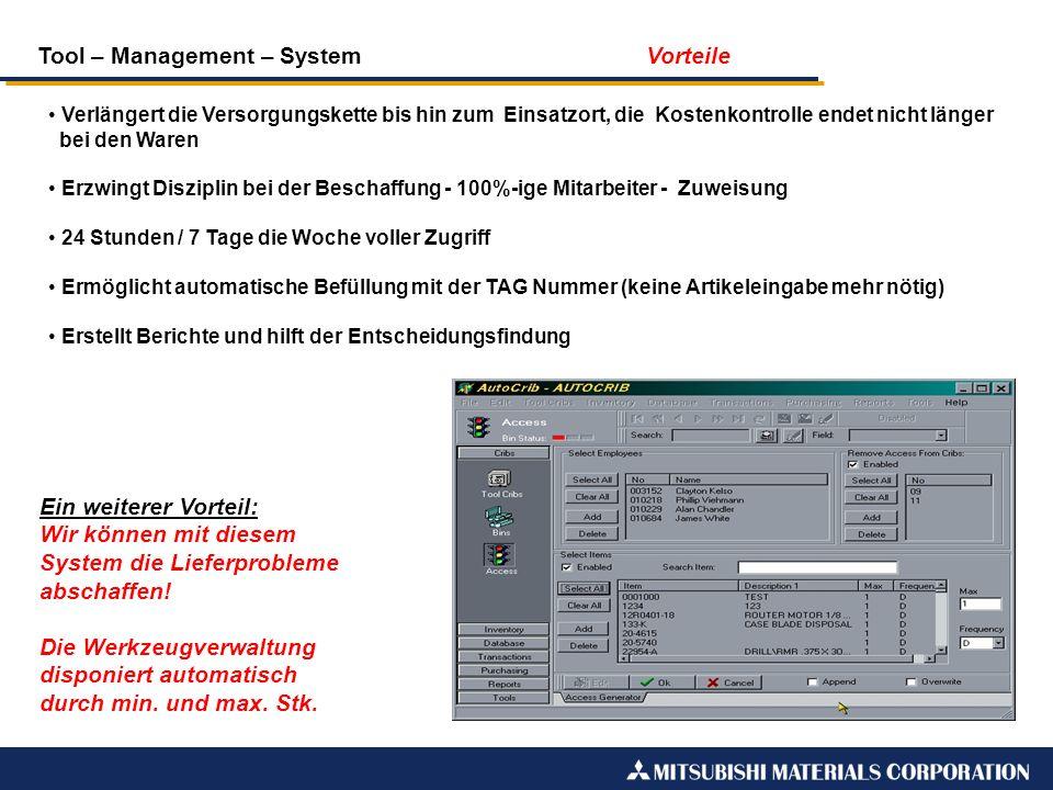 Tool – Management – System Vorteile