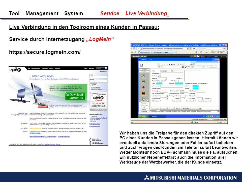 Tool – Management – System Service Live Verbindung